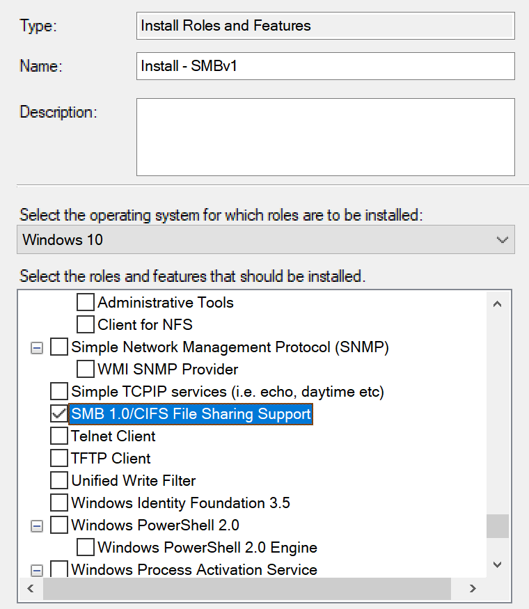Re-Enable SMBv1 in Windows 10 1709 Using MDT - Vacuum Breather